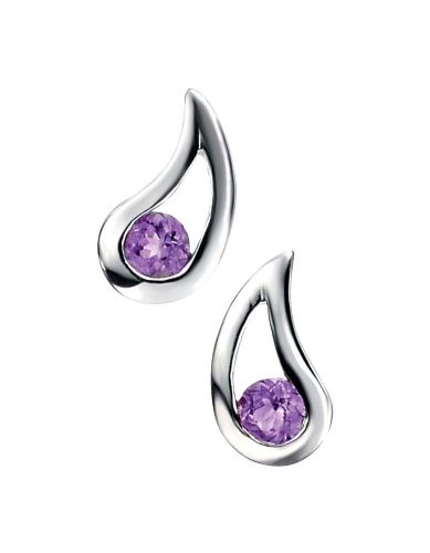 Sterling Silver Swirl Amethyst Stud Earrings